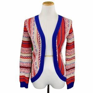 Copper Key Boho Open Front Fair Isle Knit Sweater